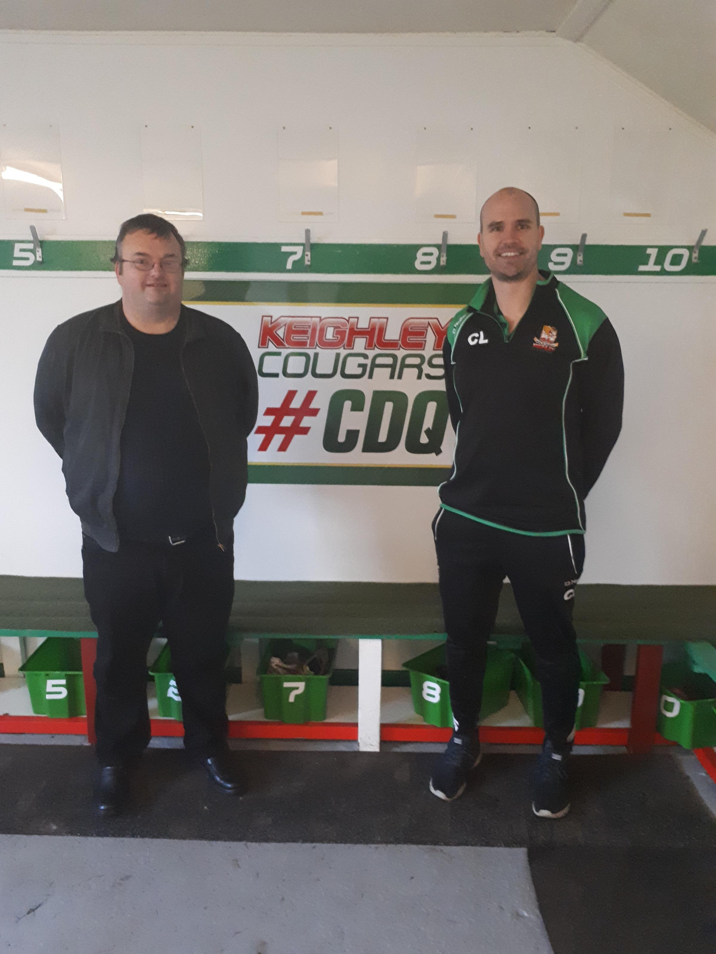 Canada Rugby League Association board member Darren Mabbott is pictured left with Cougars head coach Craig Lingard
