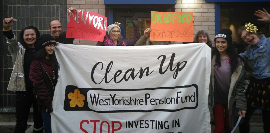 Fossil Fuel campaigners who were protesting in Bradford against pension fund investments