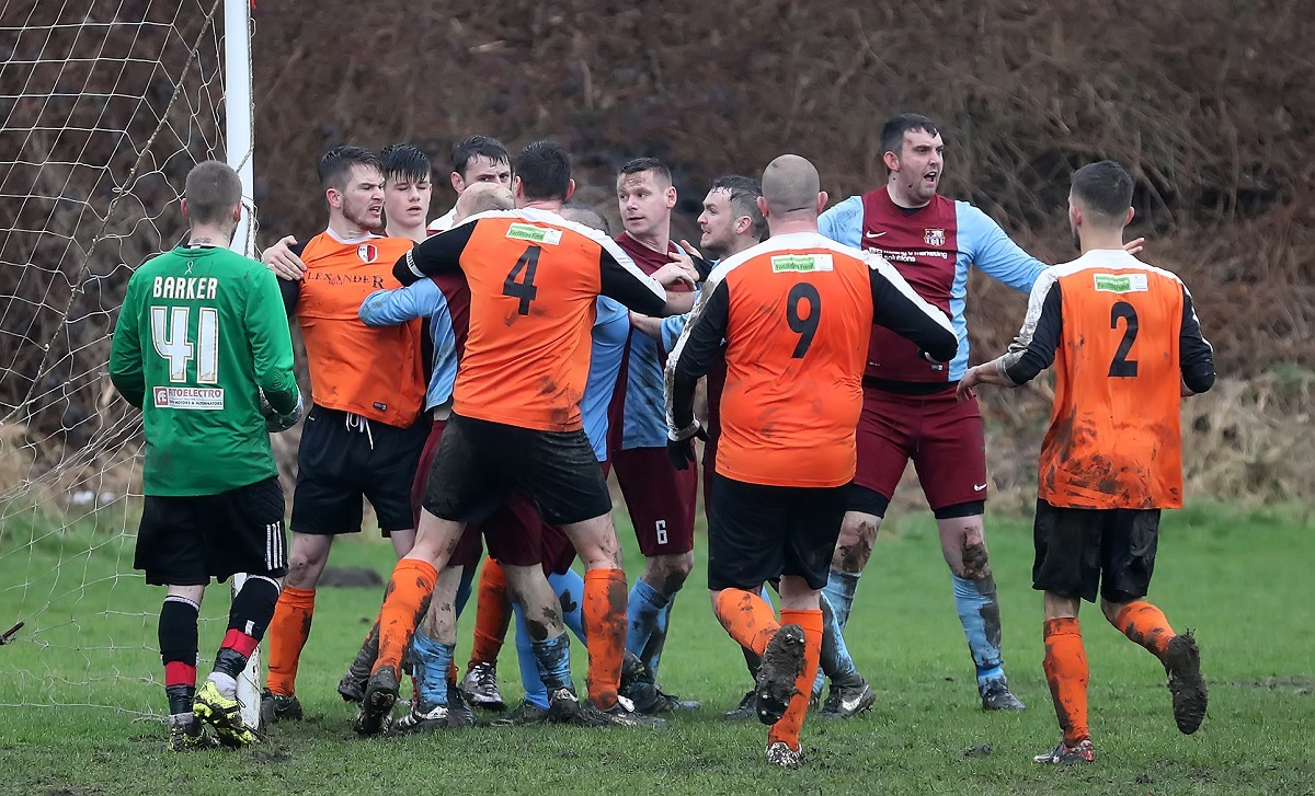 Tempers fray in the Division Two top-of-the-table clash between AFC Titans and Great Northern