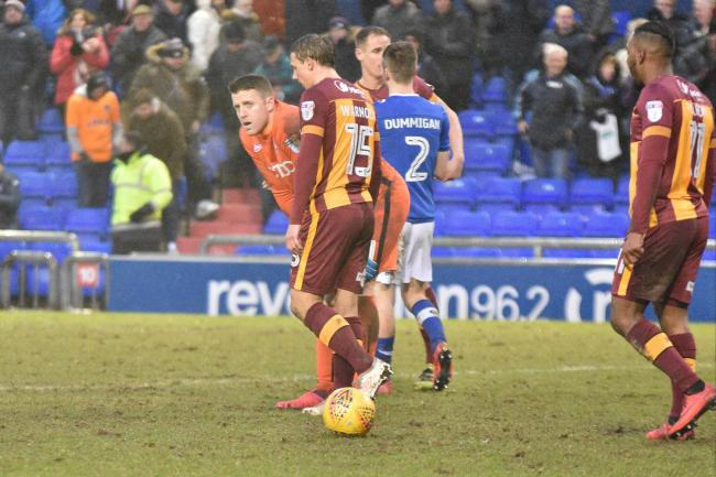 City players show their disappointment at the final whistle after losing 2-1 at Oldham – Picture: Mark Pollitt
