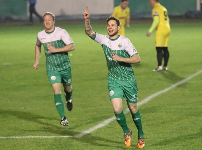 Wayne Brooksby celebrates scoring in the first half  Picture: John Rhodes