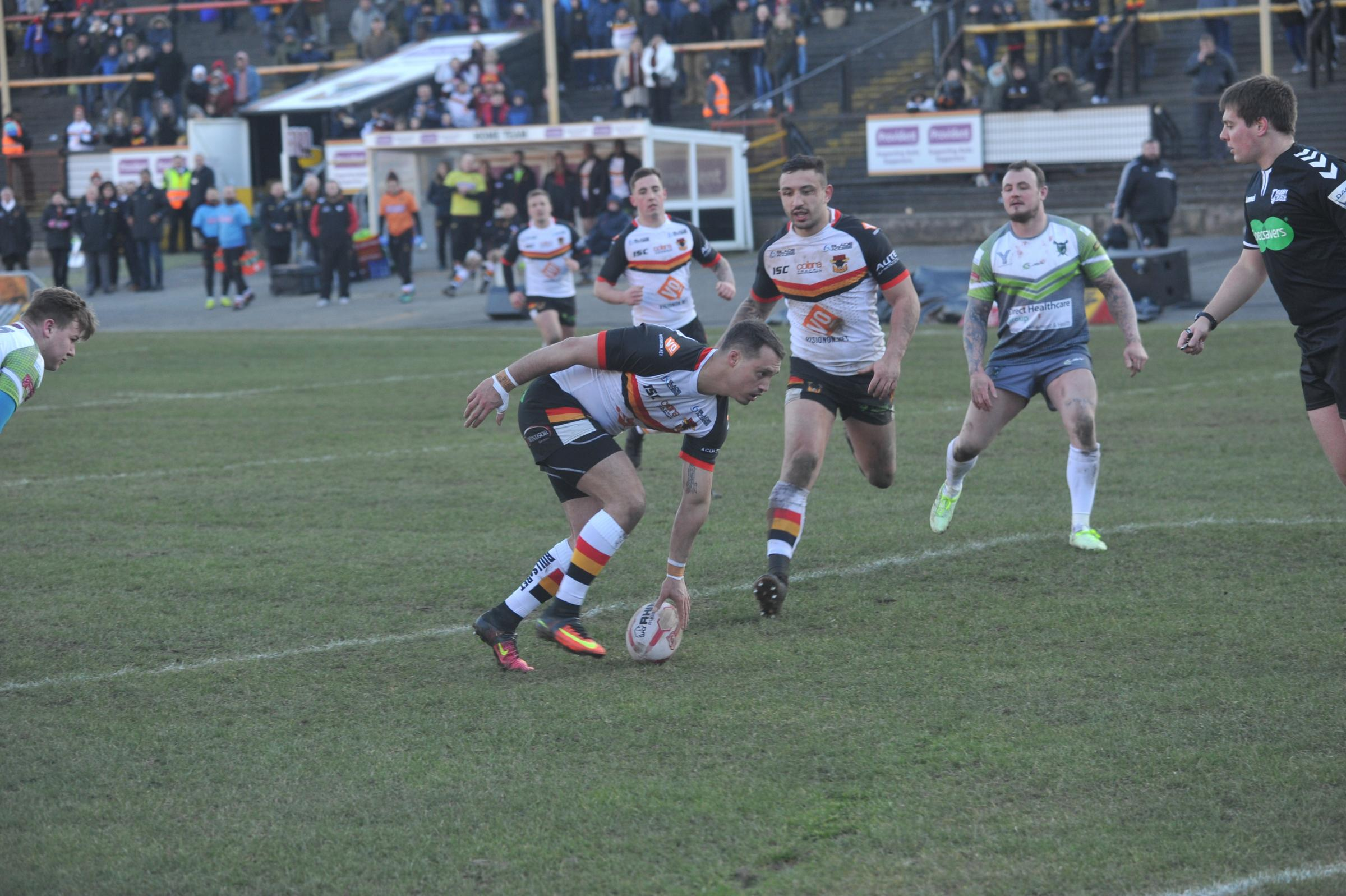 Dane Chisholm marks his Bulls return with one of their 15 tries against West Wales Raiders – Picture: Tom Pearson