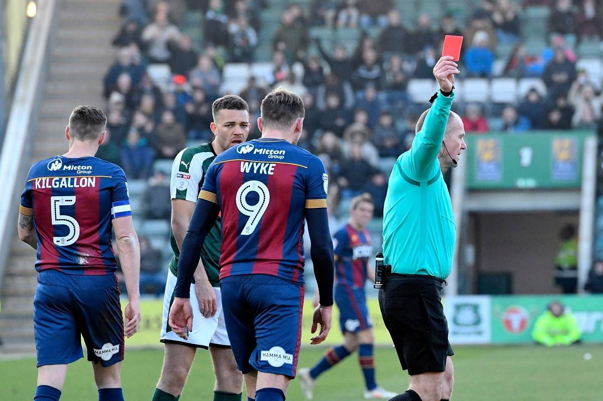 Charlie Wyke is sent off by ref Graham Salisbury at Plymouth. Pic: Graham Hunt
