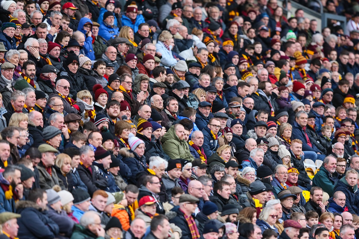 The Valley Parade crowd at the last home game against Bury. Pic: Thomas Gadd