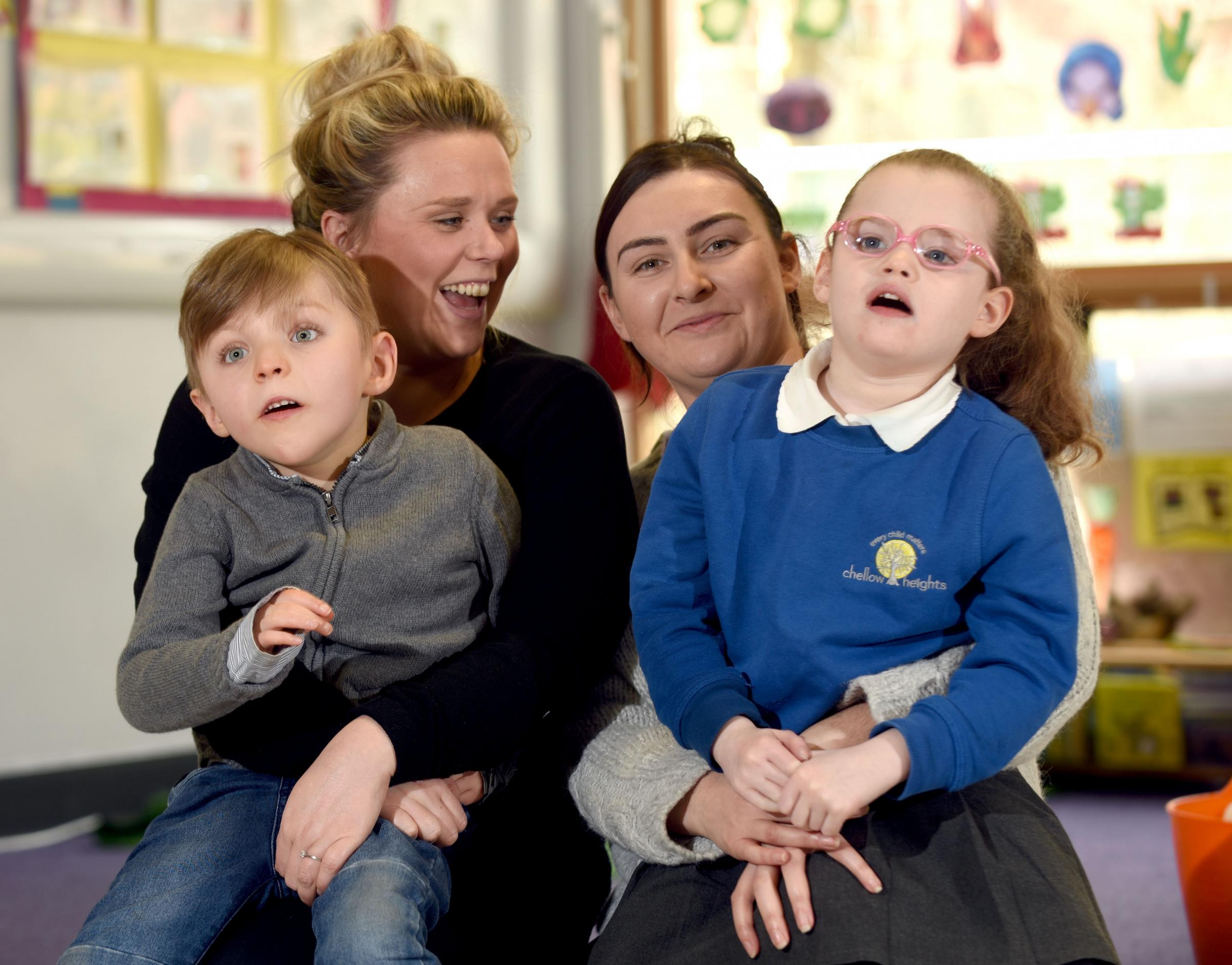 Fran with Charlie and Sophie with Layla at Chellow Heights Special School (West)