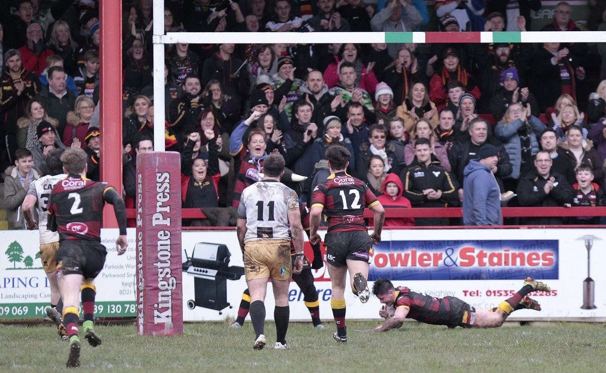 Colton Roche scores a try for the Bulls in front of their fans during last season's Joe Phillips Memorial Trophy clash, when drivers among the crowd of 2,131 found it difficult to find legal places to park – Picture: Charlie Perry