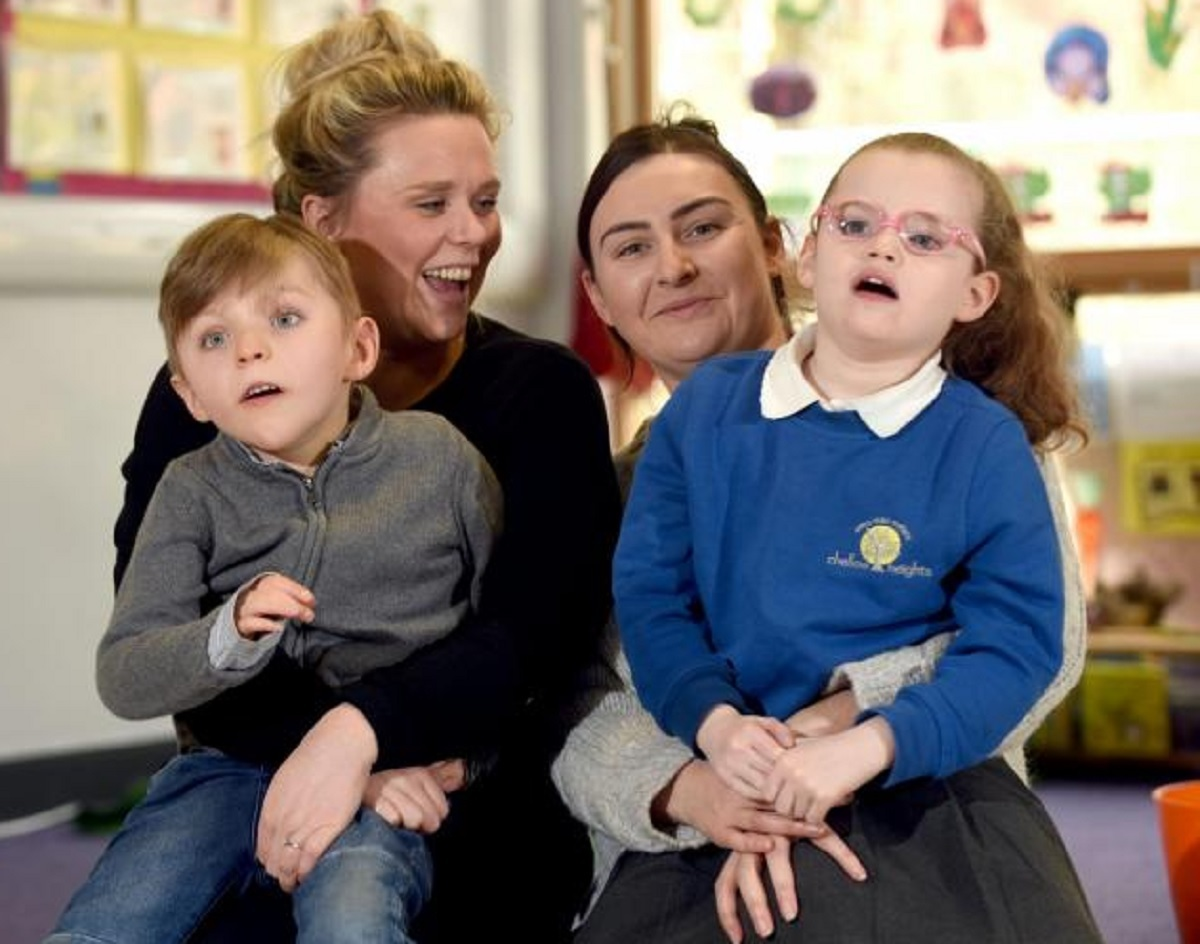 Francine Jackson with her son Charlie and Sophie Boocock-Craven with her daughter at Chellow Heights Special School (West)
