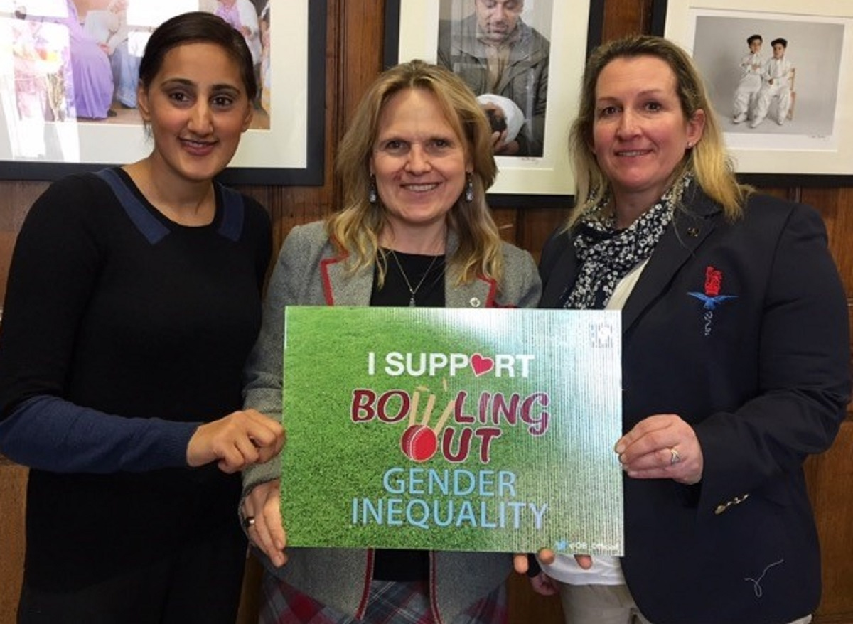 From left, Halima Khan, Opening Boundaries managing director; Kersten England, Bradford Council chief executive and Major Lisa Marr, of the 4th Infantry Brigade, promote the women's cricket match in Bradford this summer