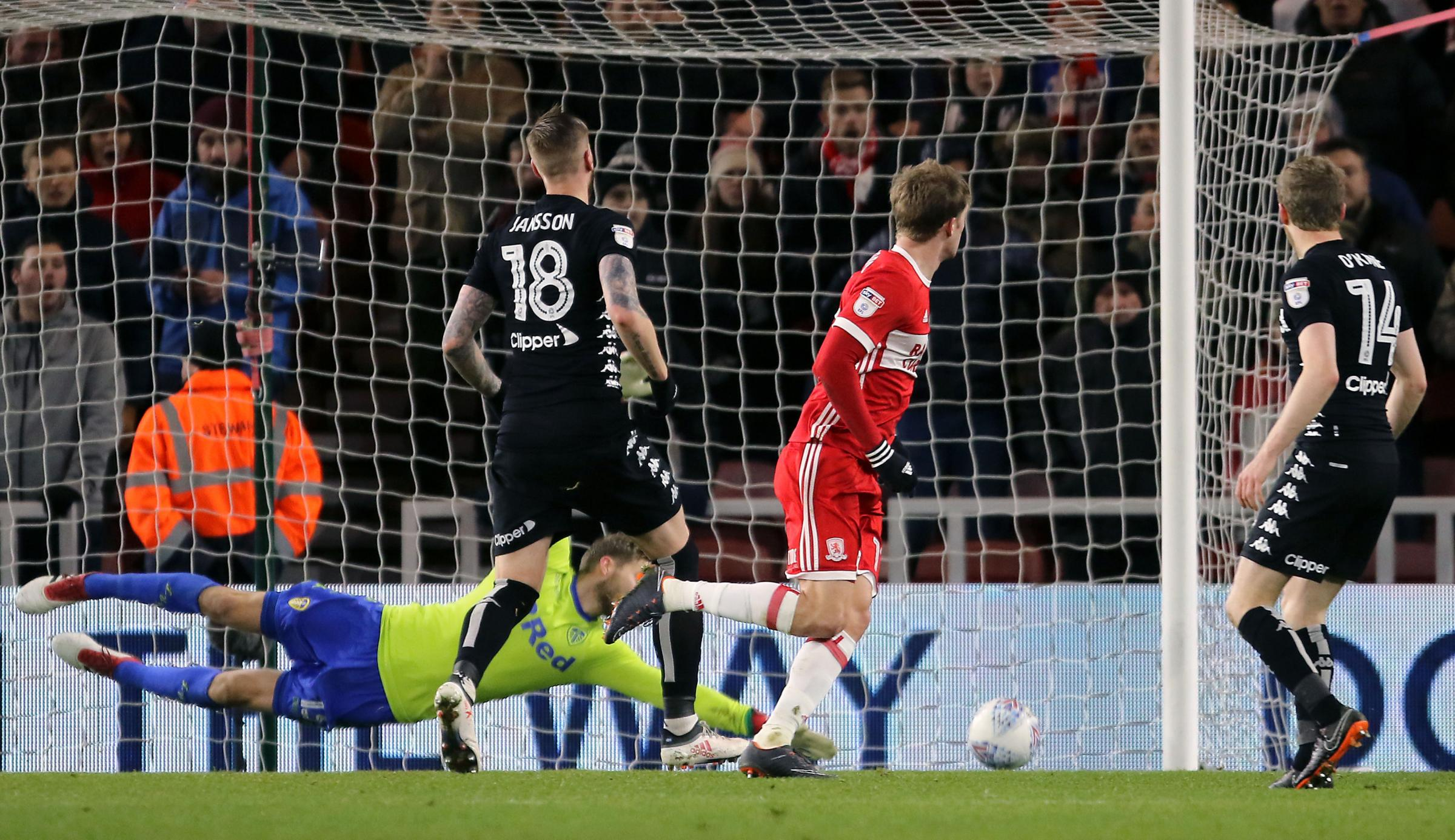 Patrick Bamford opens the scoring for Middlesbrough on their way to a 3-0 victory in Paul Heckingbottom's fifth game in charge of Leeds – Picture: Richard Sellers/PA Wire