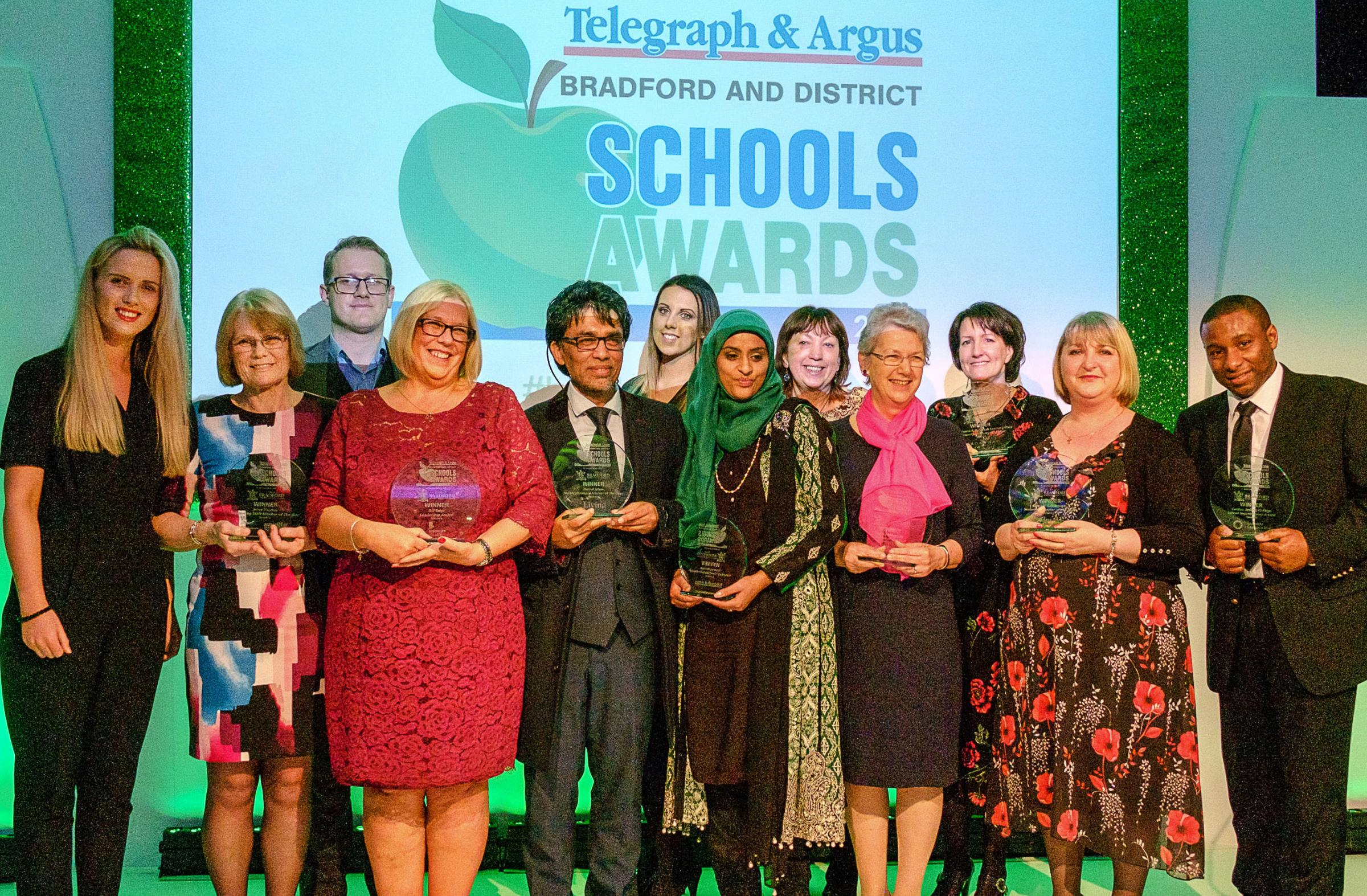 The winners from the 2018 Telegraph & Argus Bradford Schools Awards take to the stage at the Aagrah Midpoint Suite