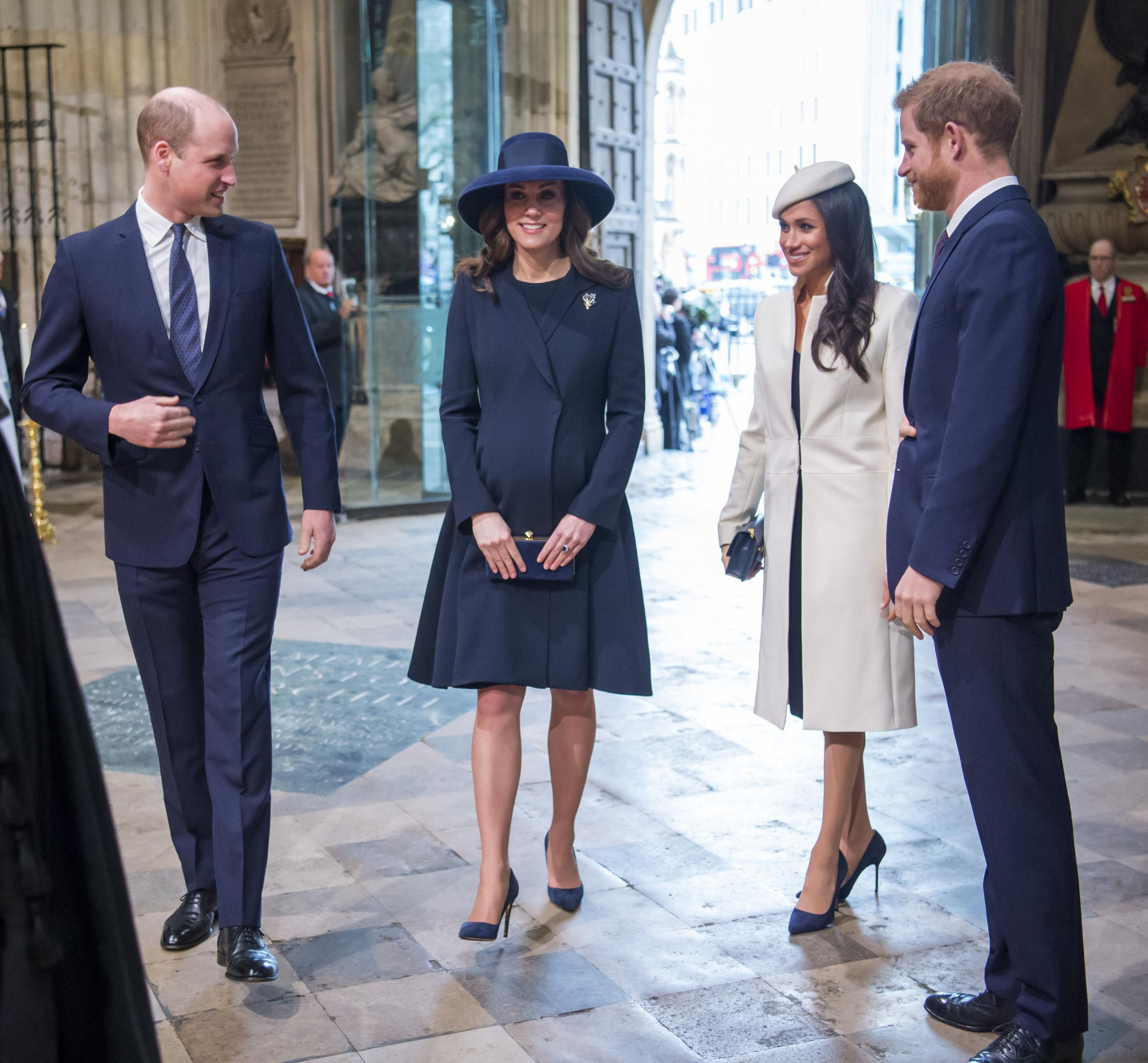 The Duke and Duchess of Cambridge, Prince Harry and Meghan Markle attend the Commonwealth Service at Westminster Abbey, London. PRESS ASSOCIATION Photo. Picture date: Monday March 12, 2018. See PA story ROYAL Commonwealth. Photo credit should read: Paul G