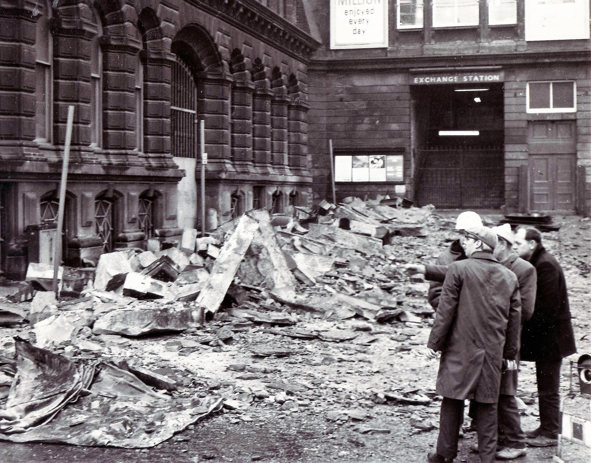 Sixty tons of debris crashed down in Bradford during severe gales in March 1968