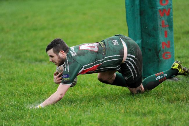 CLOSE CONTEST: Karl Spring, here playing for West Bowling, grounded Clayton's first try in a tight opening to the Bradford Cup semi-final they lost 20-10 to Wibsey Warriors