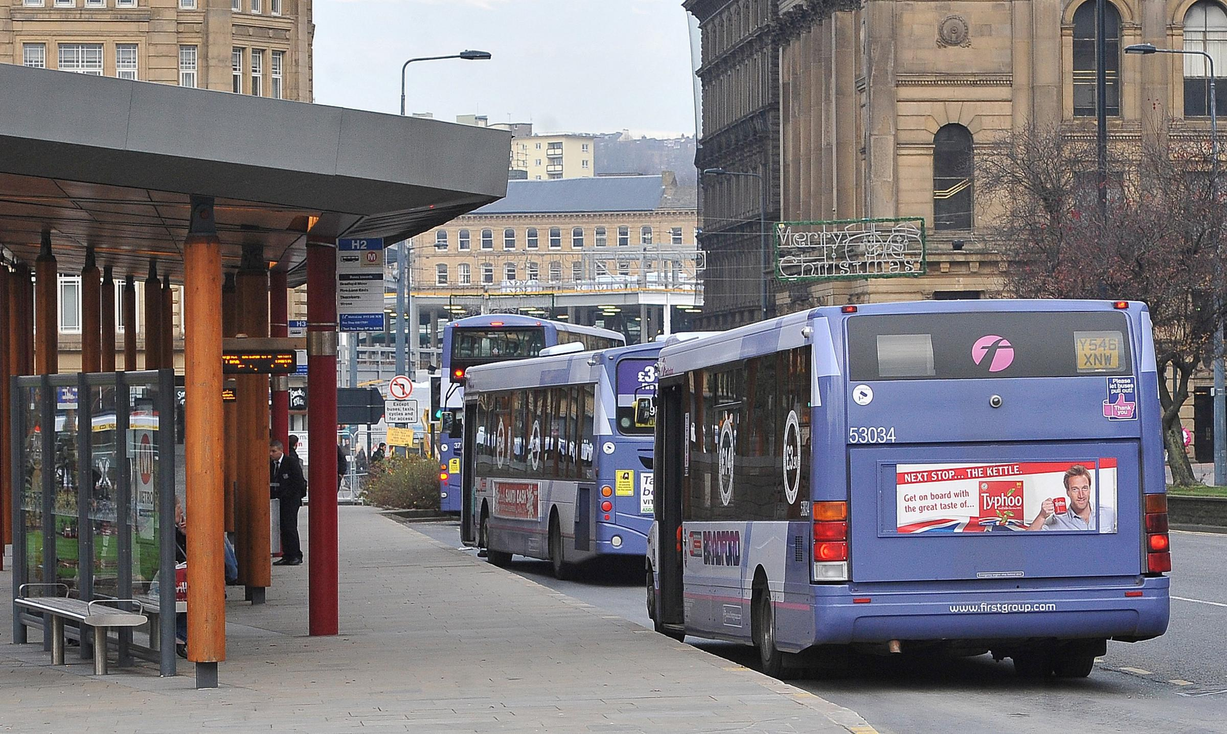First buses in the city centre.