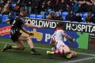 Mark Percival scores his side's second try of the game (Anthony Devlin/PA)