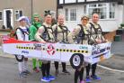 WHO'S HE GONNA CALL? Ilkley fundraiser Andrew Sharpe (third from right) with his Ghostbusters inspired London Marathon team