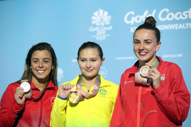 Cleckheaton's  Lois Toulson, right, with her bronze medal following the Women's 10m Platform at the Optus Aquatic Centre  Picture: Danny Lawson/PA Wire