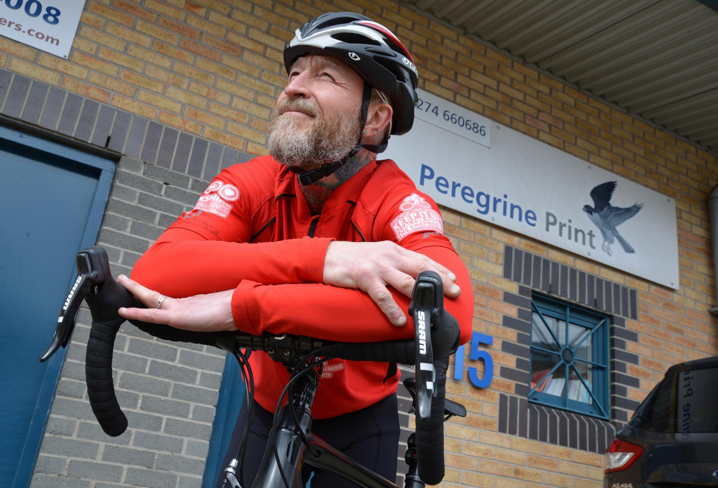 : Mark Cunningham is taking part in a charity bike ride in May from Huddersfield to Dortmund in aid of Yorkshire Air Ambulance.