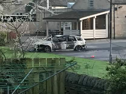 The burnt out wreckage in Apperley Bridge