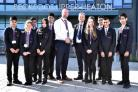 Pupils with head teacher Simon Wade (centre left) and Beckfoot Trust CEO David Horn