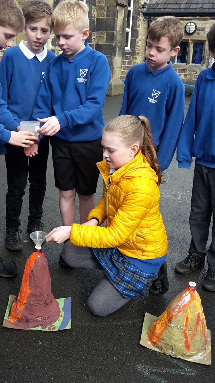 Pupils take part in the volcanoes project