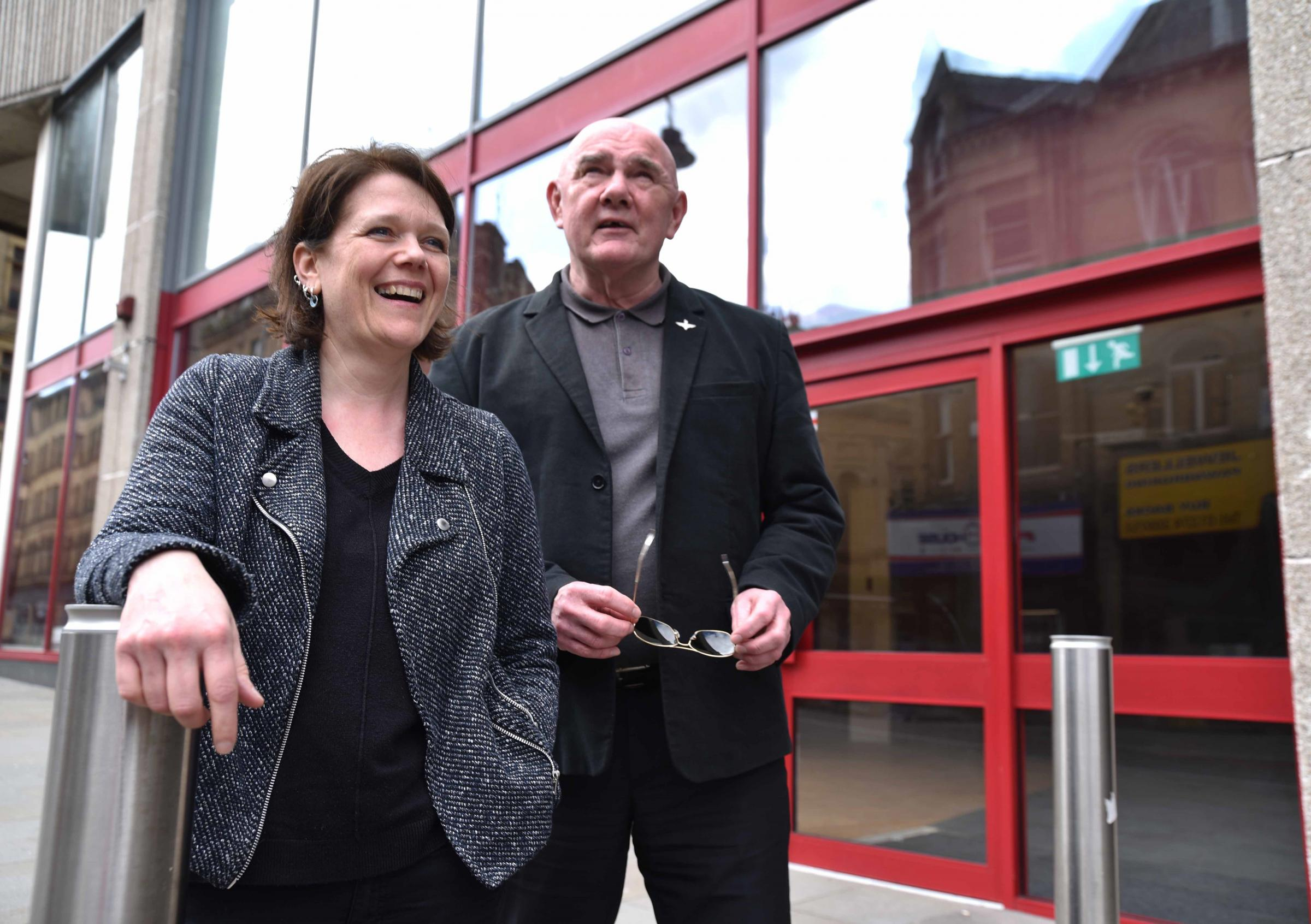 Cath Brooke and Arthur Stafford outside the former costa coffee store in Bradford.