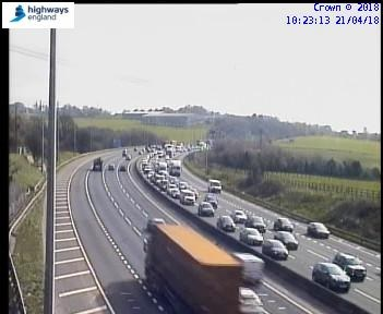 Traffic queues on the M62 heading towards Chain Bar