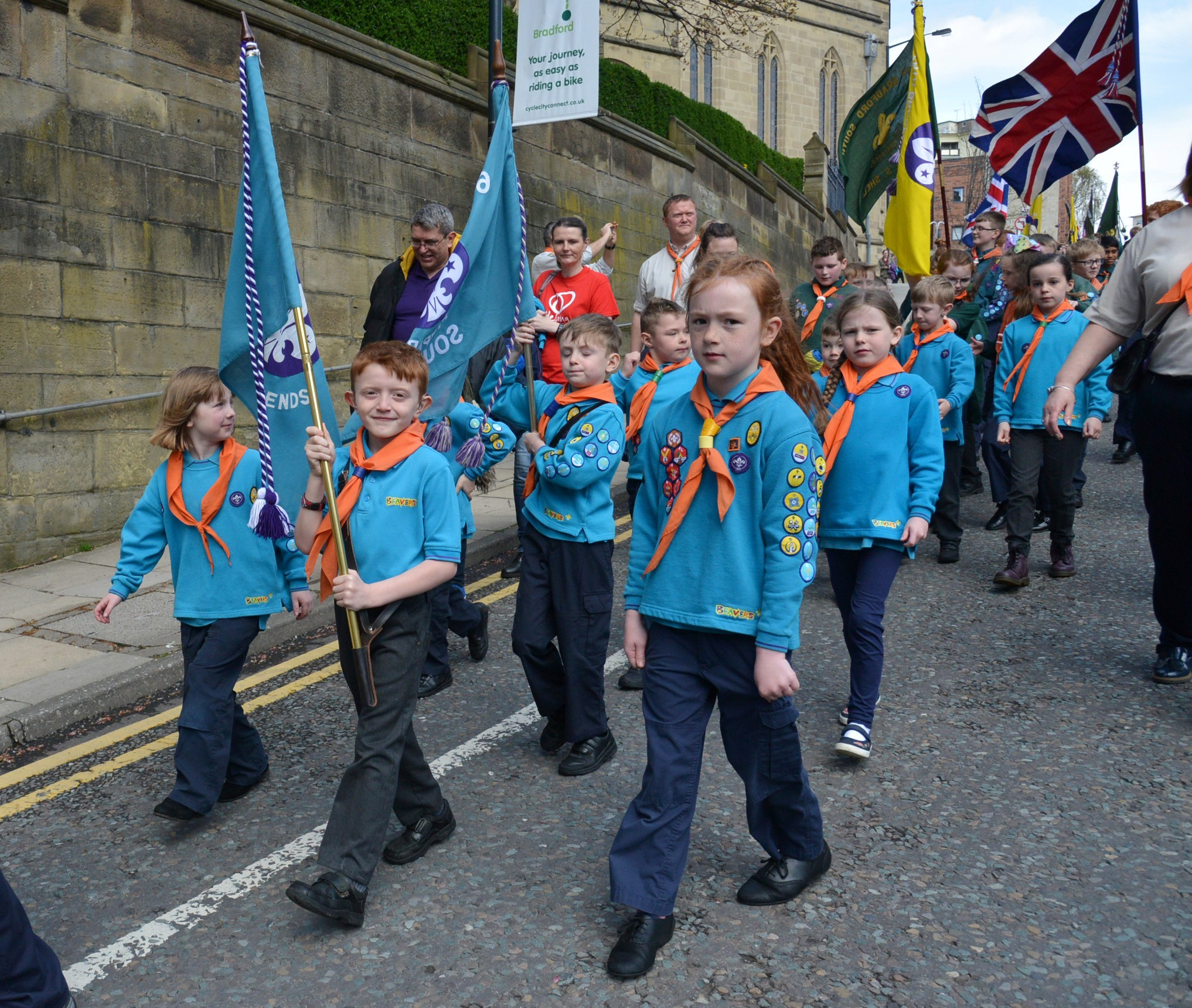 LEADER: Jaxon Green-Moore leads his Beaver group on parade yesterday