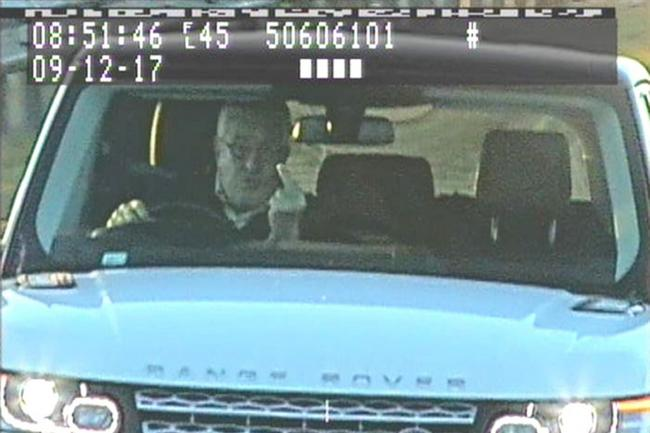 Resultado de imagen de Timothy Hill gestures at a speed camera (North Yorkshire Police/PA)