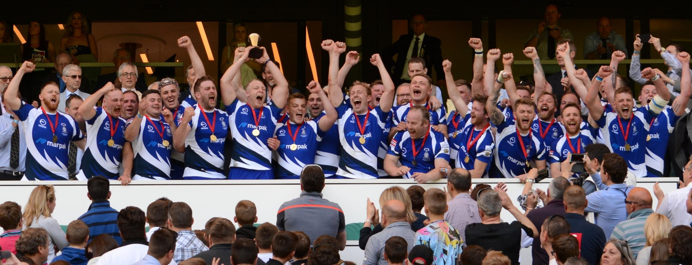 Old Otliensians celebrate their Junior Vase success at Twickenham - the achievement has seen their coaches nominated for a prestigious award