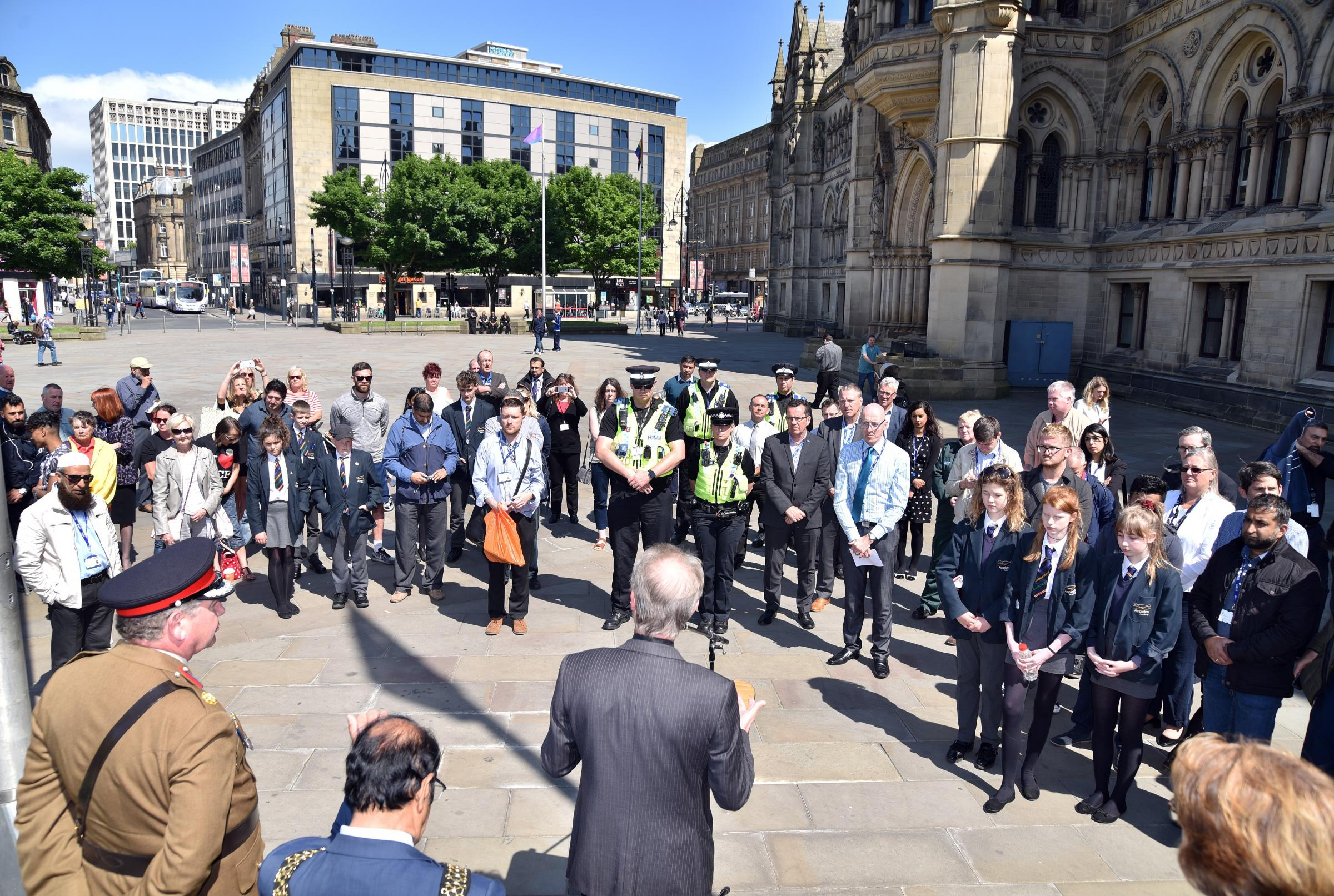 Bradford holds a minutes silence for the Manchester Bomb victims a year ago today.