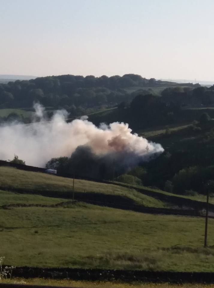 Plumes of smoke could be seen in Queensbury as the fire burned