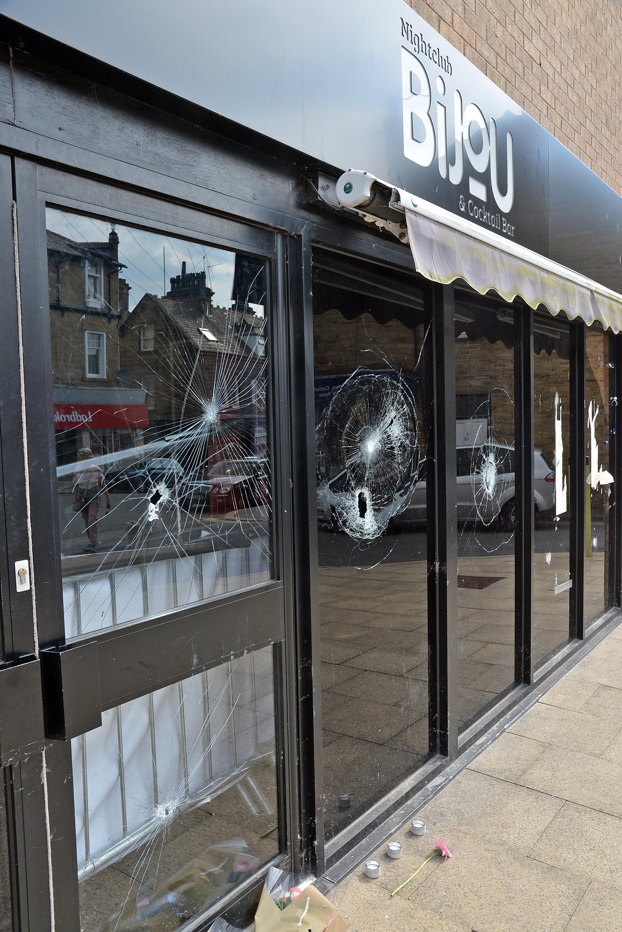 Former Bijou nightclub, Bingley, after the windows were smashed
