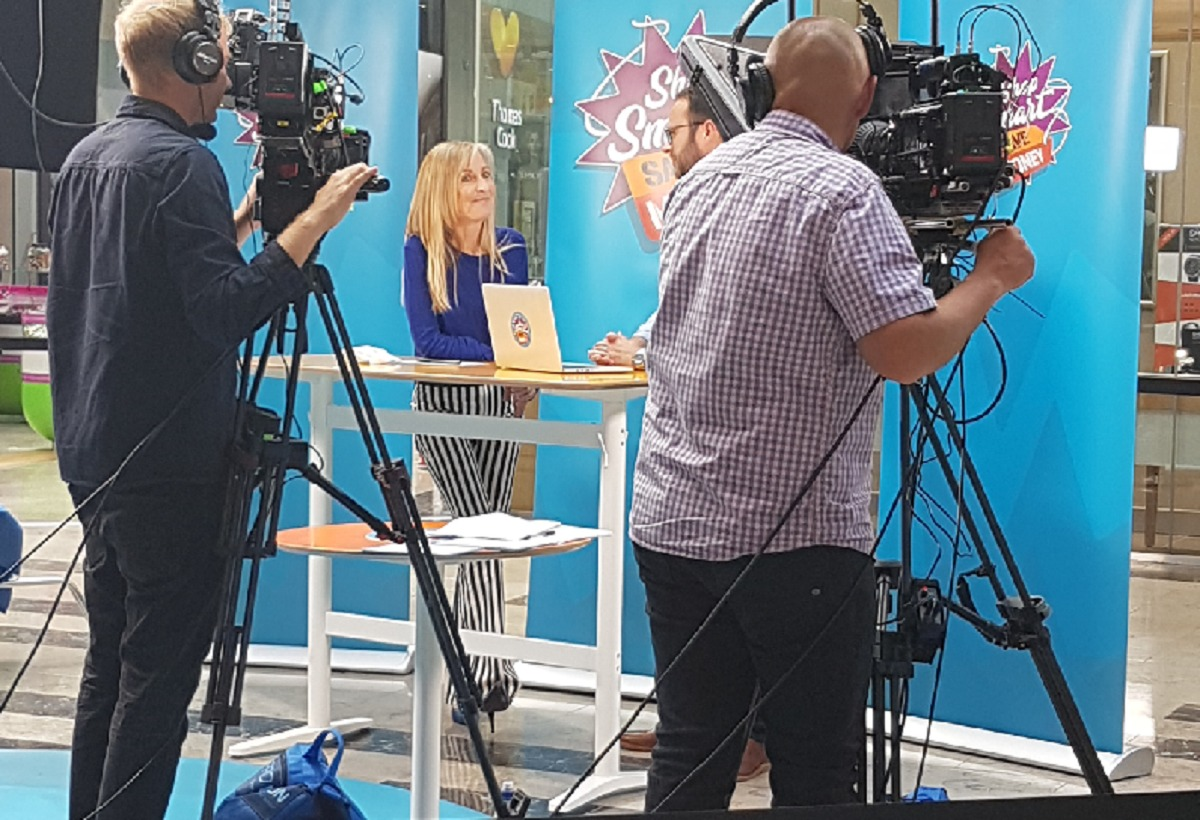 Fiona Phillips filming at the Broadway, Bradford. Picture: Anne Ward