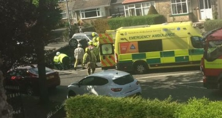 Emergency services at the scene of the crash in Pullan Avenue, Eccleshill