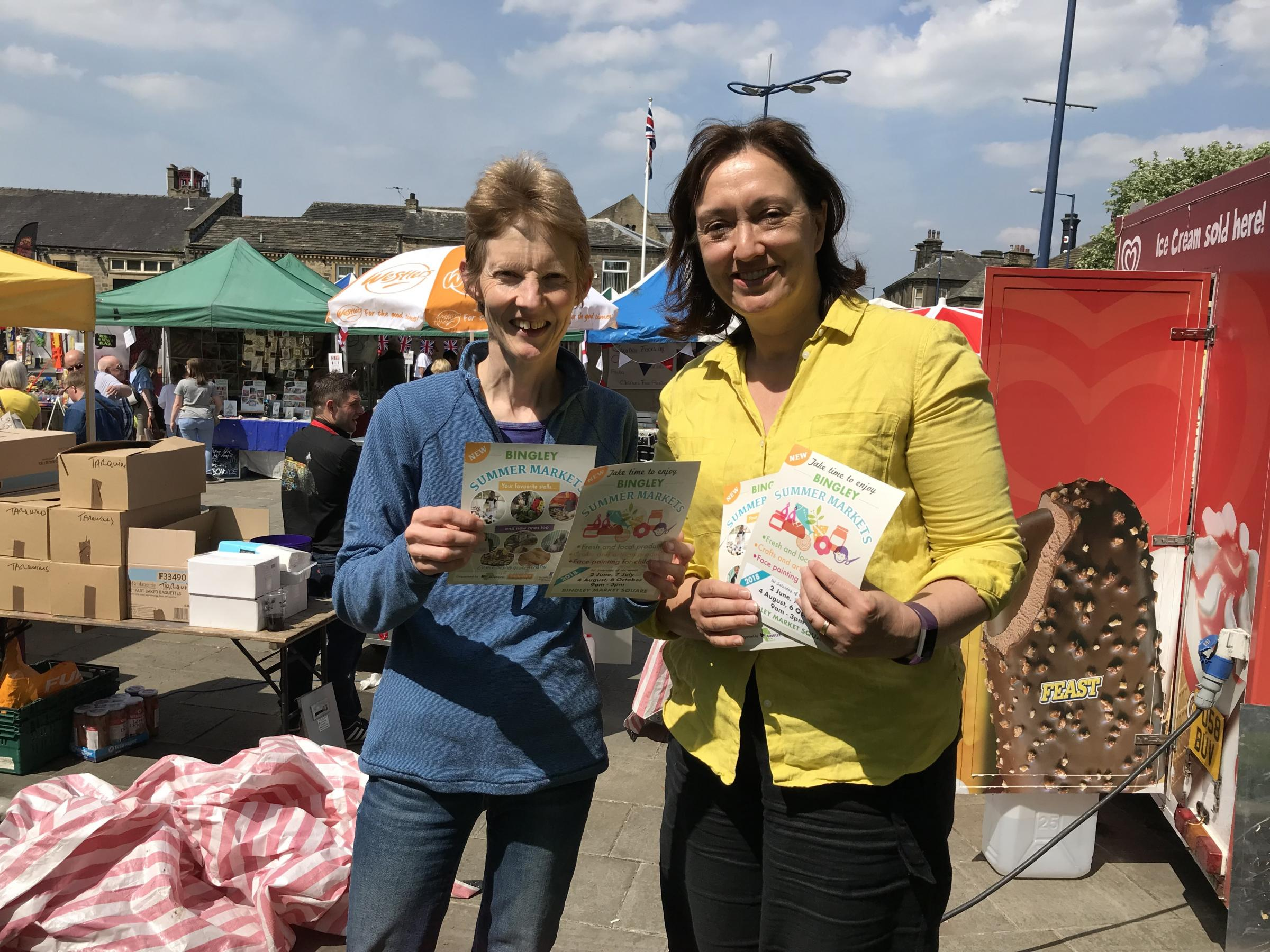 Bingley summer markets Cllrs Edwina Simpson and Ros Dawson promoting the new markets