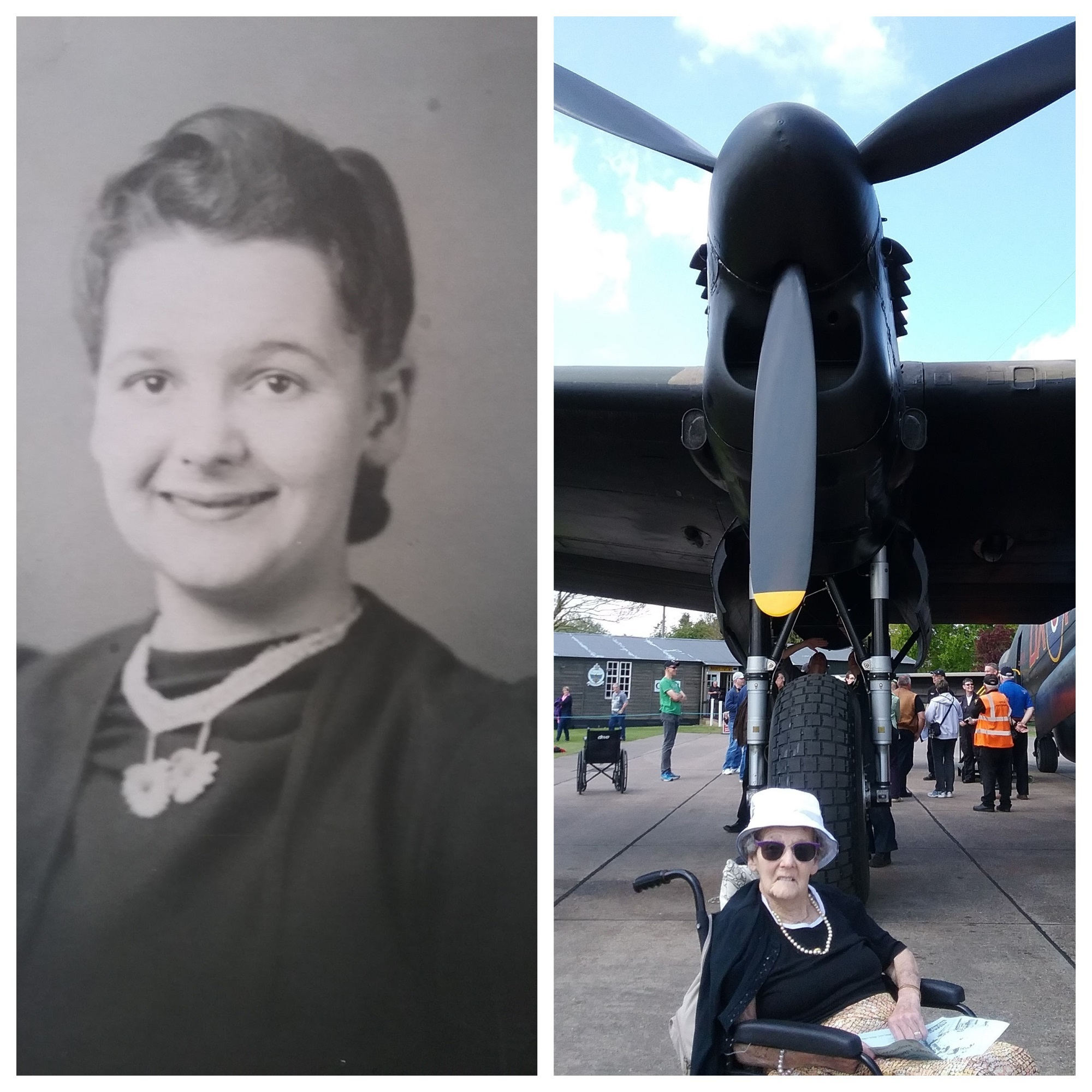 Olive Crowther as a young girl and with the Lancaster bomber 'Just Jane'