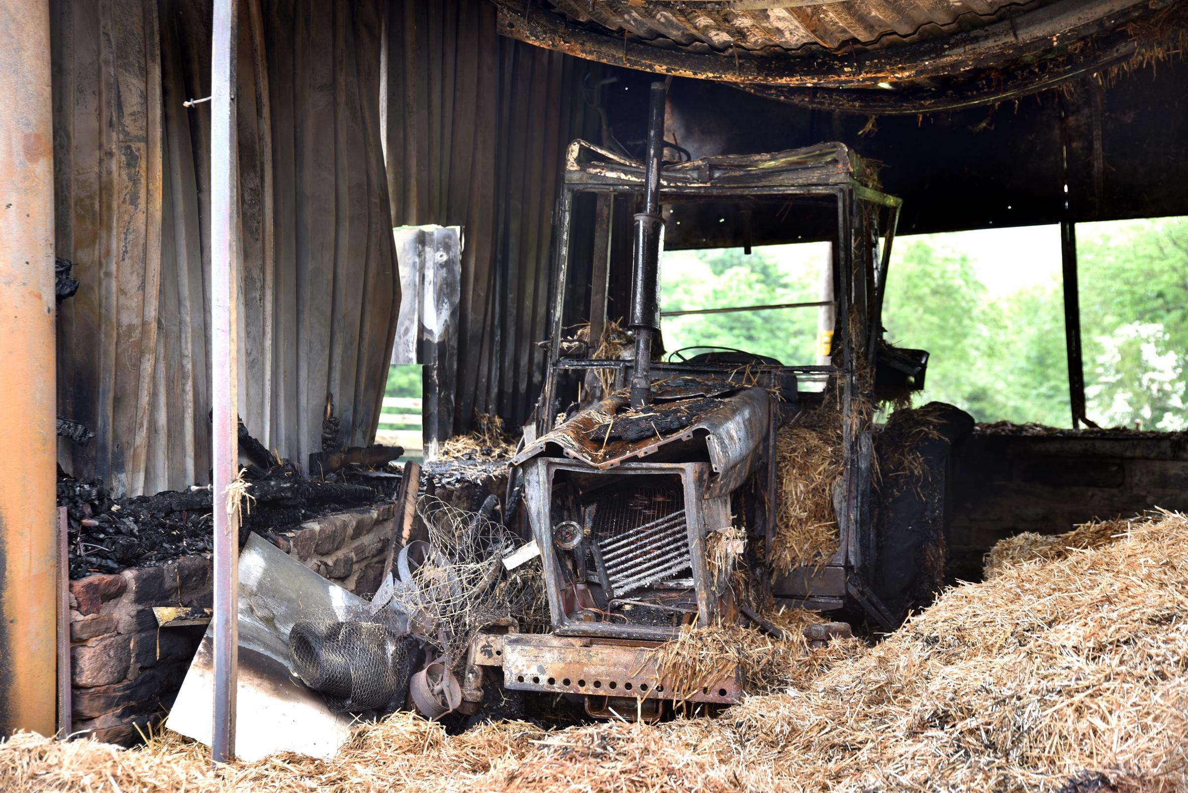 The scene at Parkhill Farm, Ellar Carr Road, Thackley, after a suspected arson attack