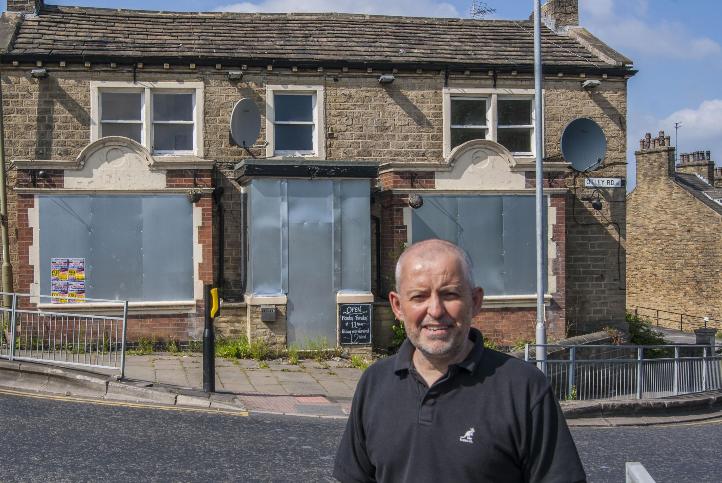 Councillor Kevin Warnes (Green Party, Shipley) outside the former Branch pub, Shipley