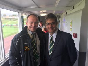 Bradford Park Avenue's new full-time commercial manager Jamie Sinclair, right, with club director Ben Harvey