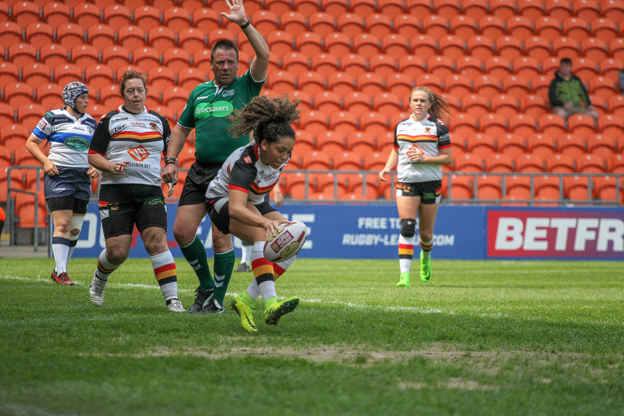 Savannah Andrade goes over for Bradford Bulls in the Summer Bash Picture: Simon Hall