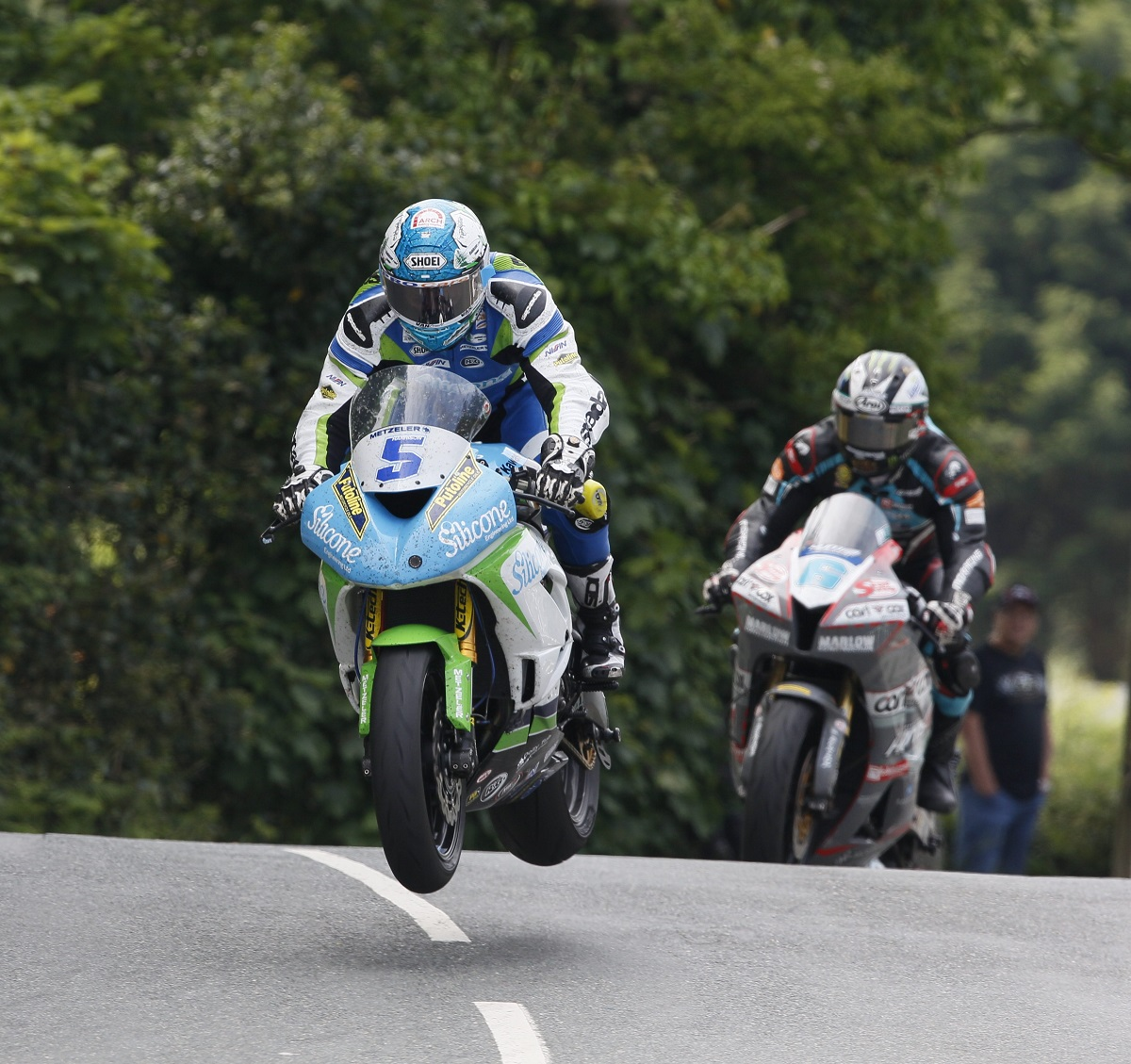 Bradford's Dean Harrison is airborne on his way to finishing third in the Superstock race at the Isle of Man TT Picture: chrissipix