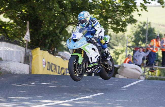 Bradford's Dean Harrison on his way to Isle of Man TT glory in the second Supersport race today