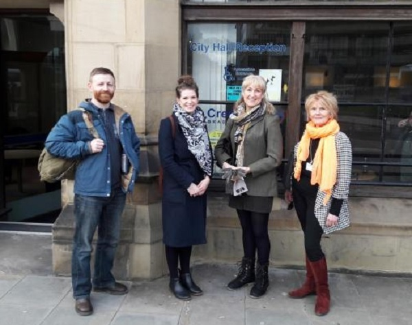 FLASHBACK: From left, PC Sam Hollings, residents Bethany Wright, Lynn Wright and Cllr Hawkesworth handing in the CCTV petition