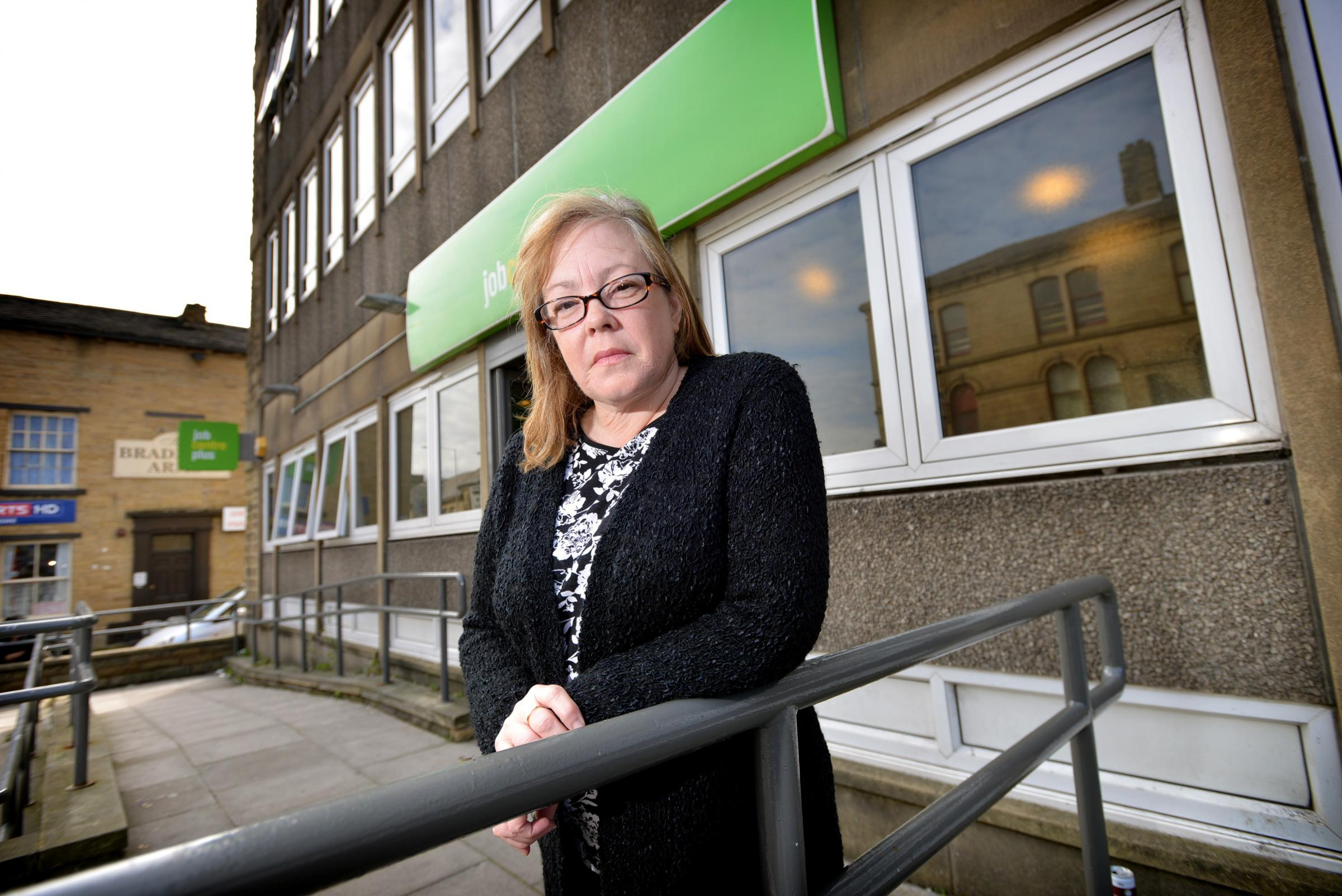 Job Centre account manager Tracy Othen stands infront of the Job Centre on Manningham Lane..