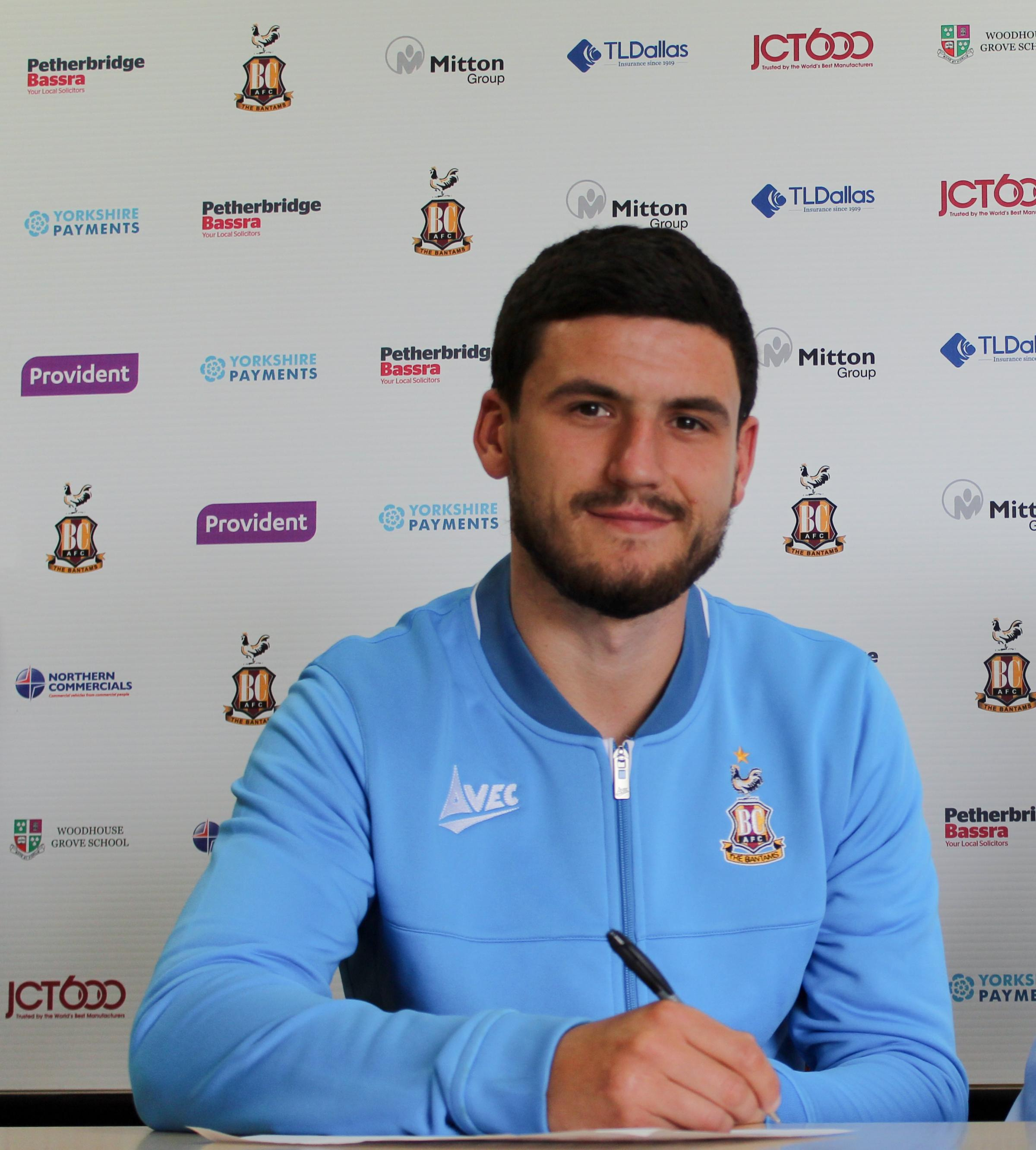 Anthony O'Connor signs for Bradford City today