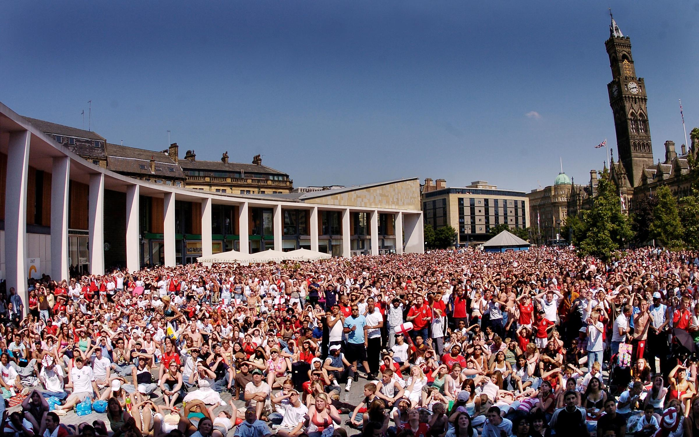NOSTALGIA: Bradford Centenary square was filled with football fans in 2006