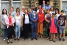 Keighley town mayor Councillor Fulzar Ahmed, centre, with the mayoress along with service users and Good Shepherd Centre staff and volunteers