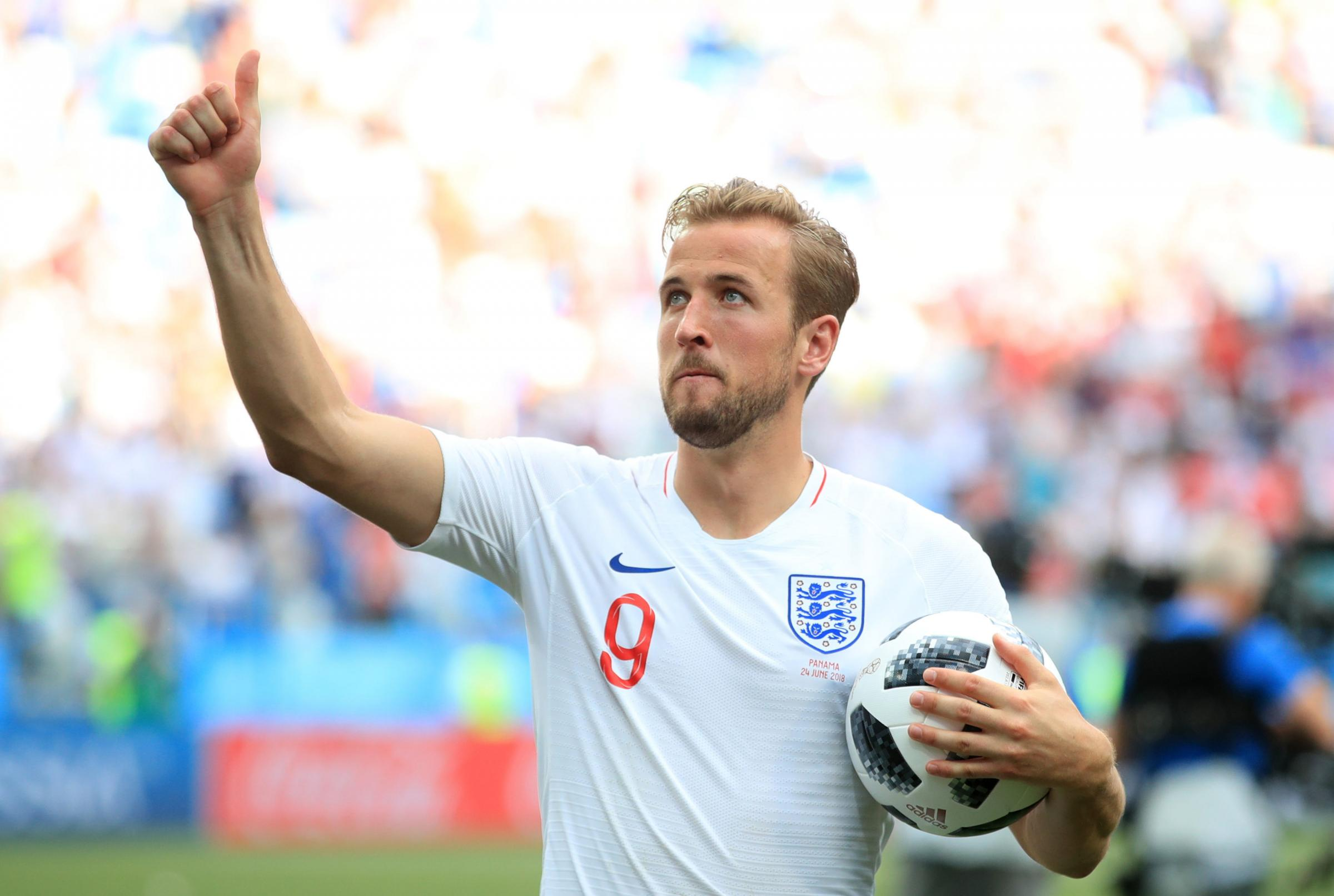 England's Harry Kane celebrates with the match ball after the final whistle during the FIFA World Cup Group G match at the Nizhny Novgorod Stadium. PRESS ASSOCIATION Photo. Picture date: Sunday June 24, 2018. See PA story WORLDCUP England. Photo credi