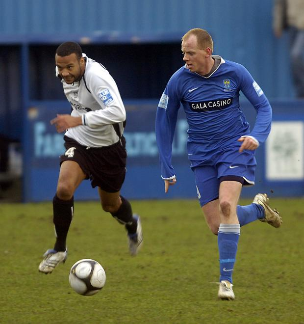 New signing from Farsley Celtic Andy Campbell opened his account for Park Avenue at Marine